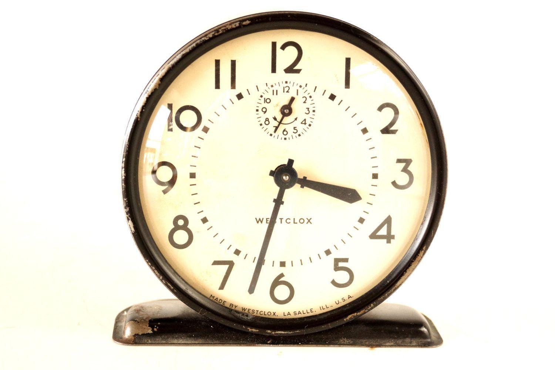 Vintage Westclox Alarm Clock in Black and Ivory (c.1943)