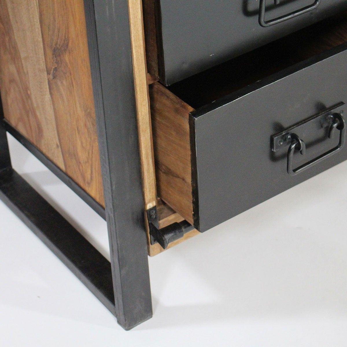 buffet industriel porte coulissante bois naturel 6 tiroirs m tal deco pinterest. Black Bedroom Furniture Sets. Home Design Ideas