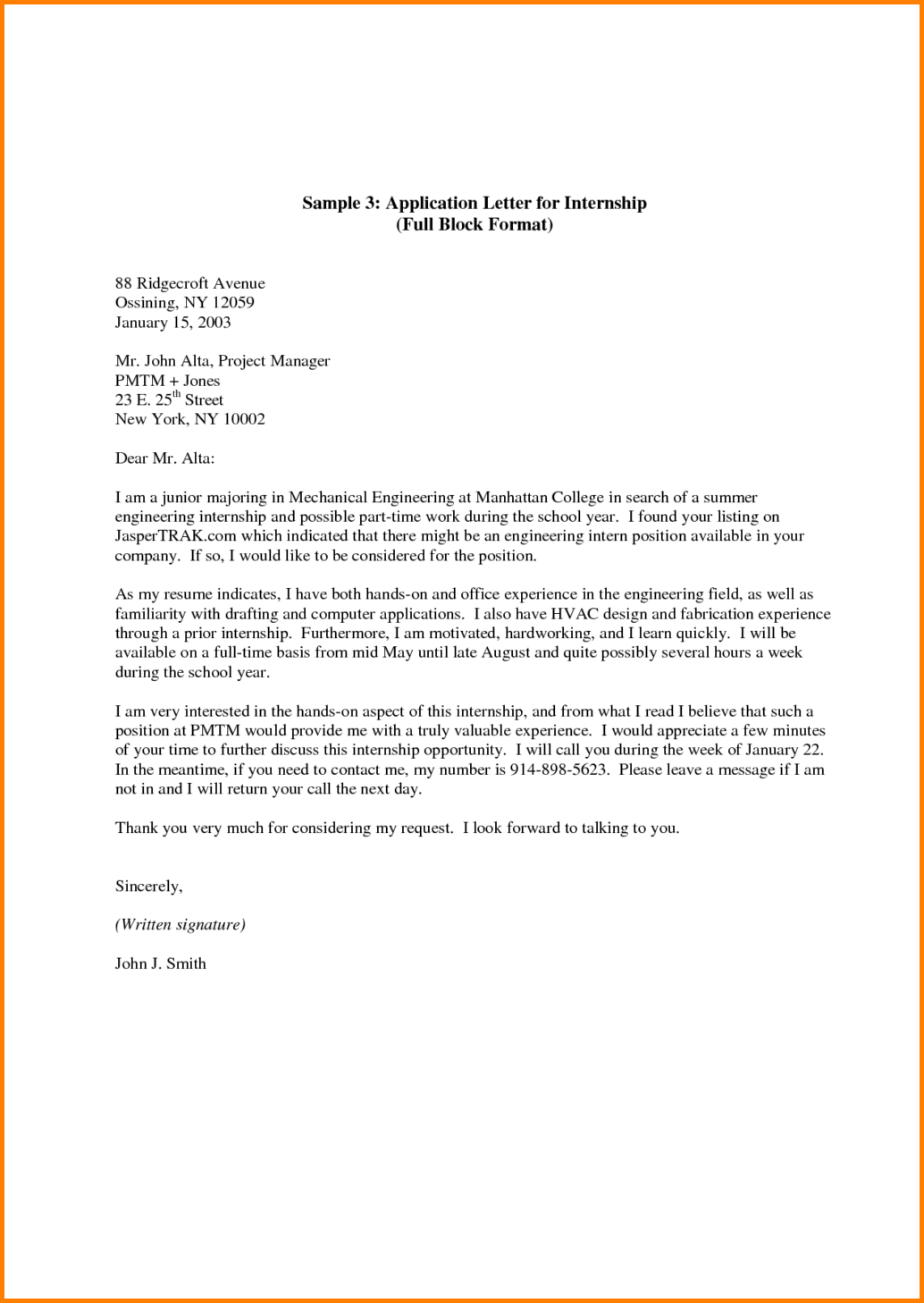 College Cover Letter Inspiration Full Block Letter Others Application And Format Example Sales Decorating Inspiration