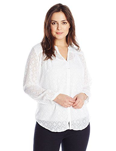 511dbfc7fe1 Lucky Brand Women s Plus-Size Jacquard Peasant Top