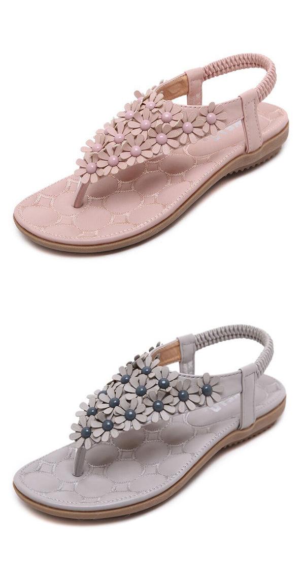 Us 17 89 Little Flower Bohemia Beaded Clip Toe Flat Sandals Clip Toe Flat Womens Sandals Women Shoes Sale