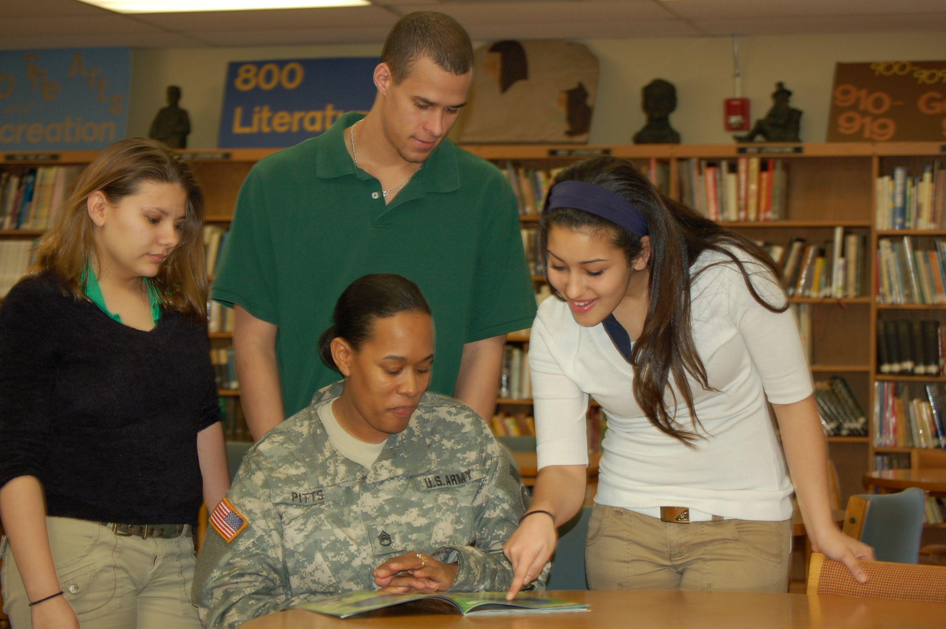 USAREC Recruiter during a school visit
