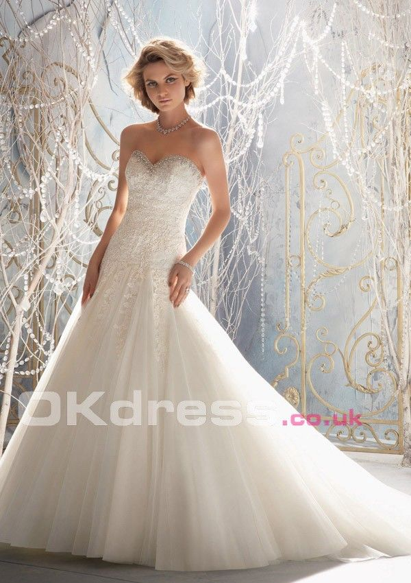 Organza Lace-up Floor-Length Ivory 2014 Wedding Dresses - by OKDress ...