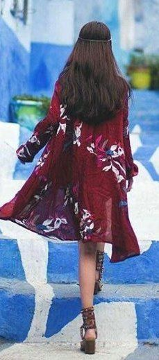 #summer #outfits Burgundy Floral Tunic + Brown Wedge