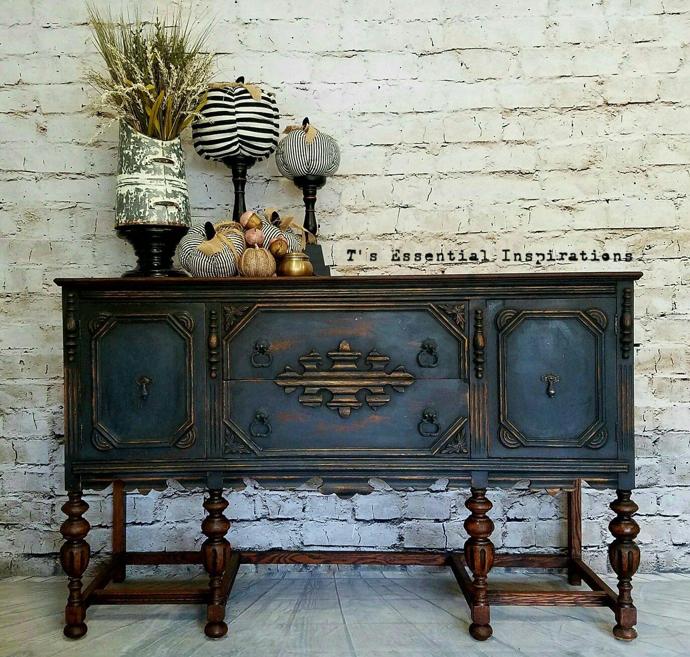 Vintage Oak Buffet Perfect Charcoal Blend Chalk Paint. And