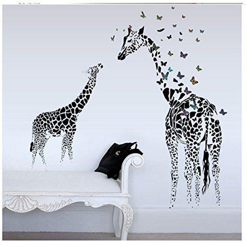 Delightful YUFENG Butterfly Giraffe Wallpaper Decor Decal For Nursery Room Wall Art  Childrens Sticker Art Anime My