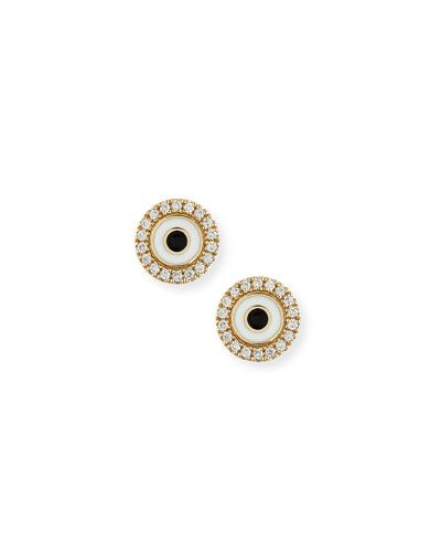 Sydney Evan Enamel Evil Eye Diamond Disc Single Stud Earring dTuG4WM