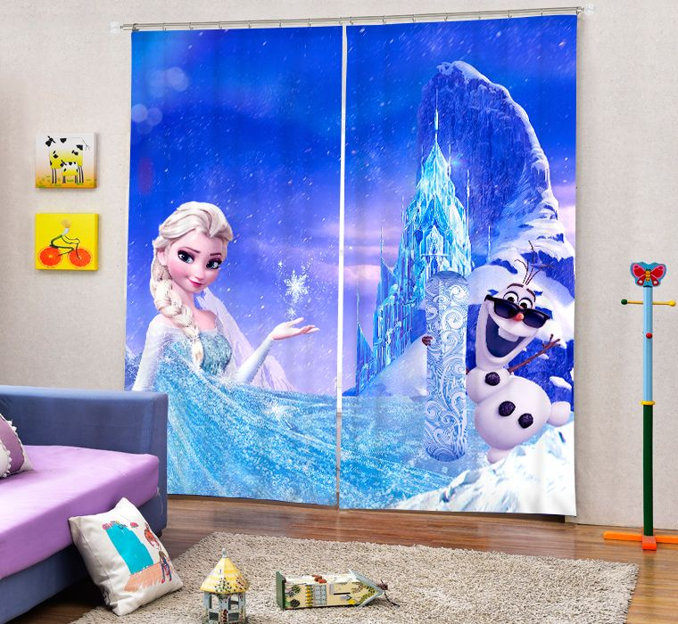 3d Children Curtain Cartoon Frozen White Snow Princess Printing Thicken Cloth Blackout Curtain Window Curtains Curtains Living Room Cool Curtains Kids Curtains