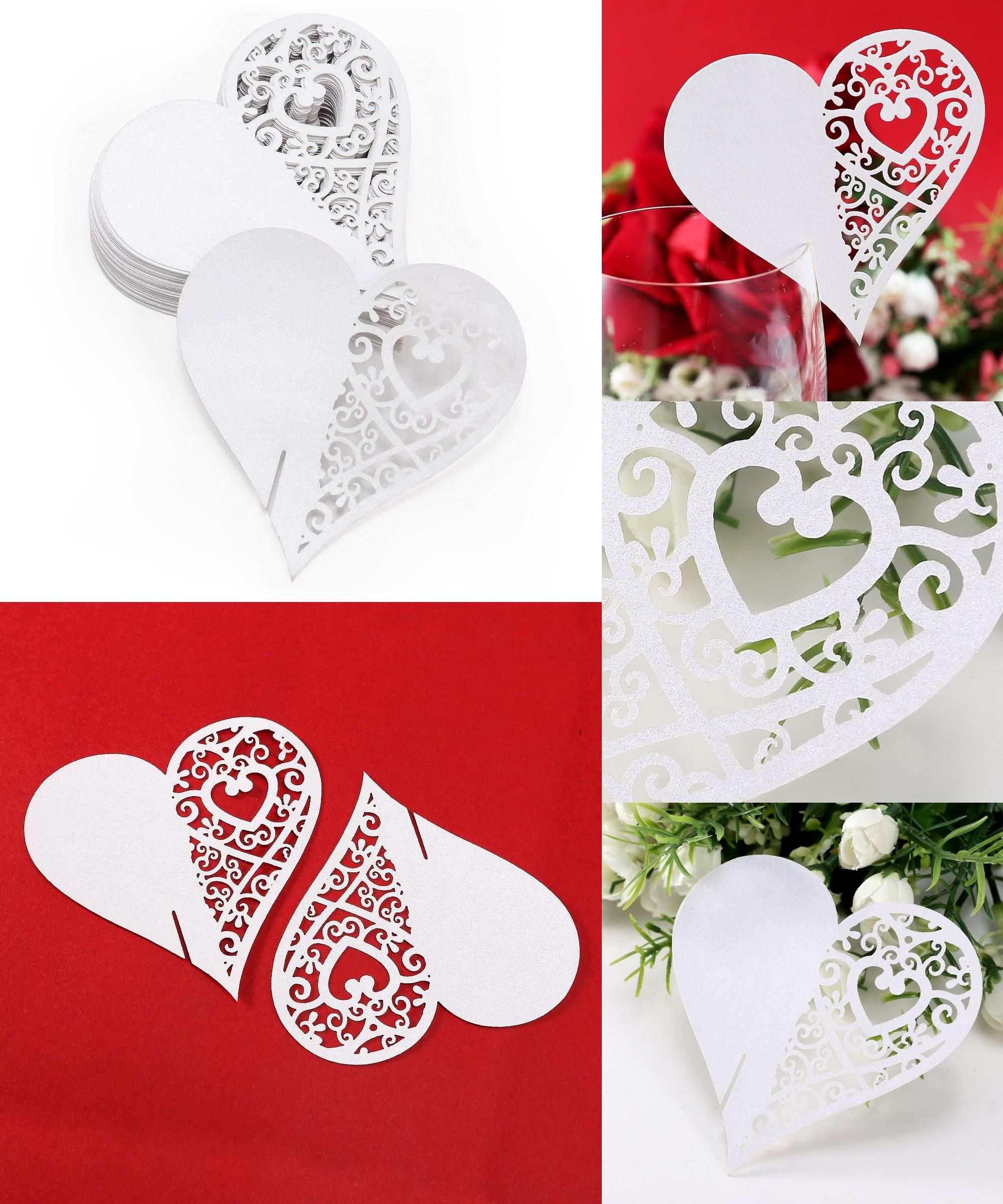 Visit to Buy] UESH-50x White Heart Cup Card Holder Name Place card ...