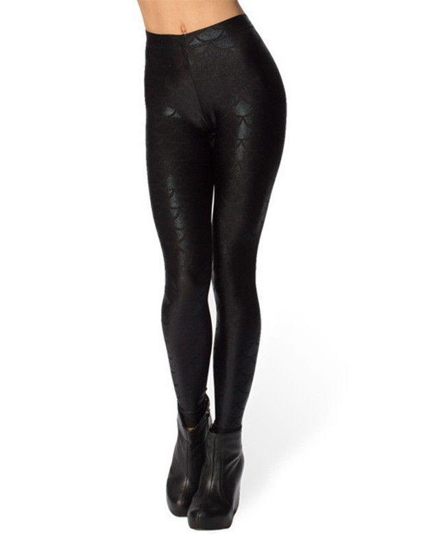 23d2f596e76b68 Slimming Womens Black Mermaid Scale Print Tight Pants Sequin Leggings
