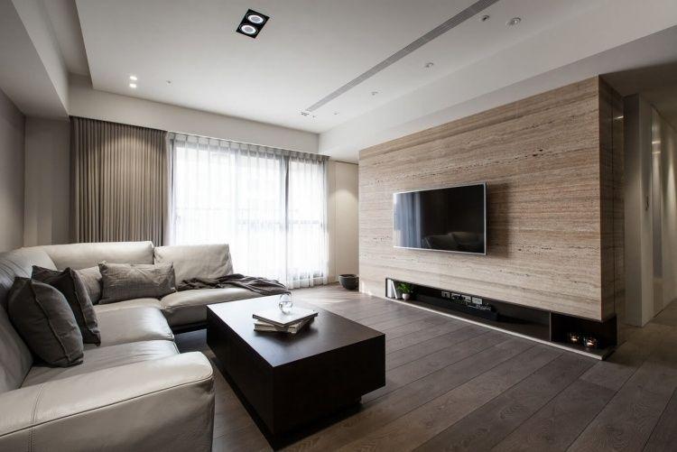 parquet foncé, table basse en bois massif et canapé du0027angle en cuir - salon d angle de jardin