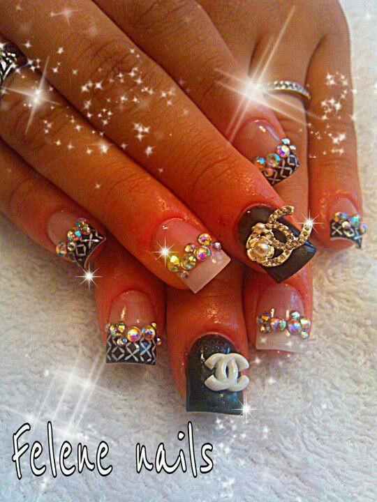 Coach Nails Bling Out Nails Pinterest Chanel Nails Nail Nail