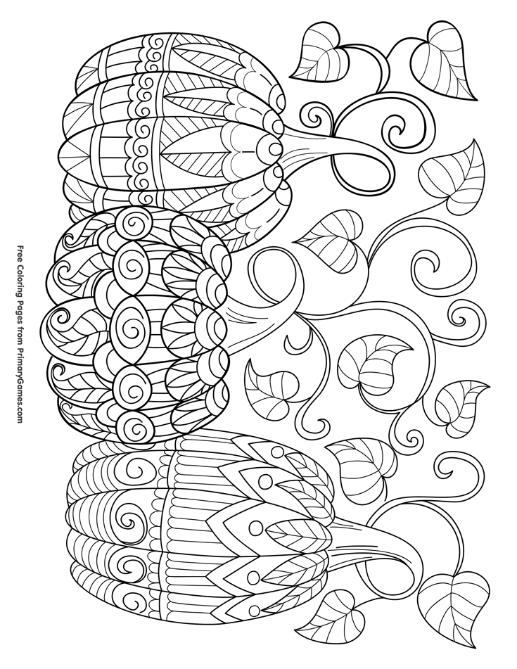 Halloween Coloring Pages eBook: Three Pumpkins | Coloring ...