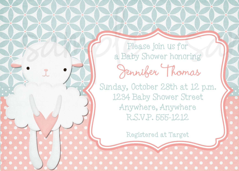 Little Lamb Baby Shower Invitation | Pink Baby Shower Invitation ...