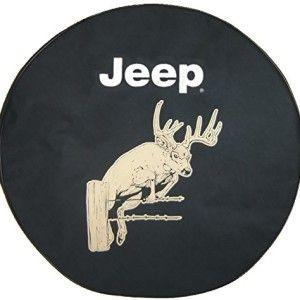 Brawny Series Black Denim Buck Tire Cover With Jeep Logo With