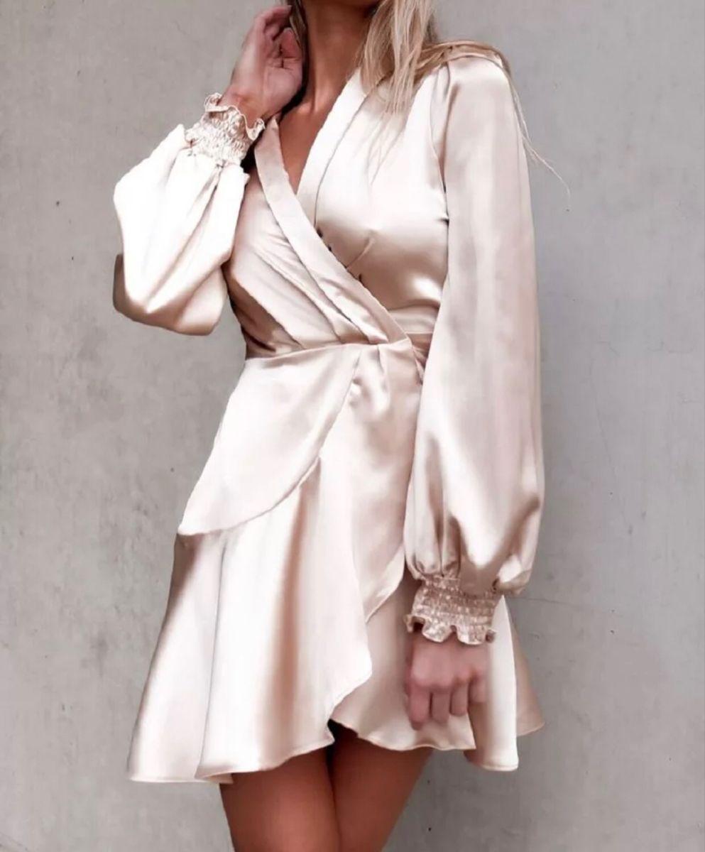 Dream Doll Hom 2020 Satin Wrap Dress Vintage Wrap Dress Dresses [ 1200 x 993 Pixel ]