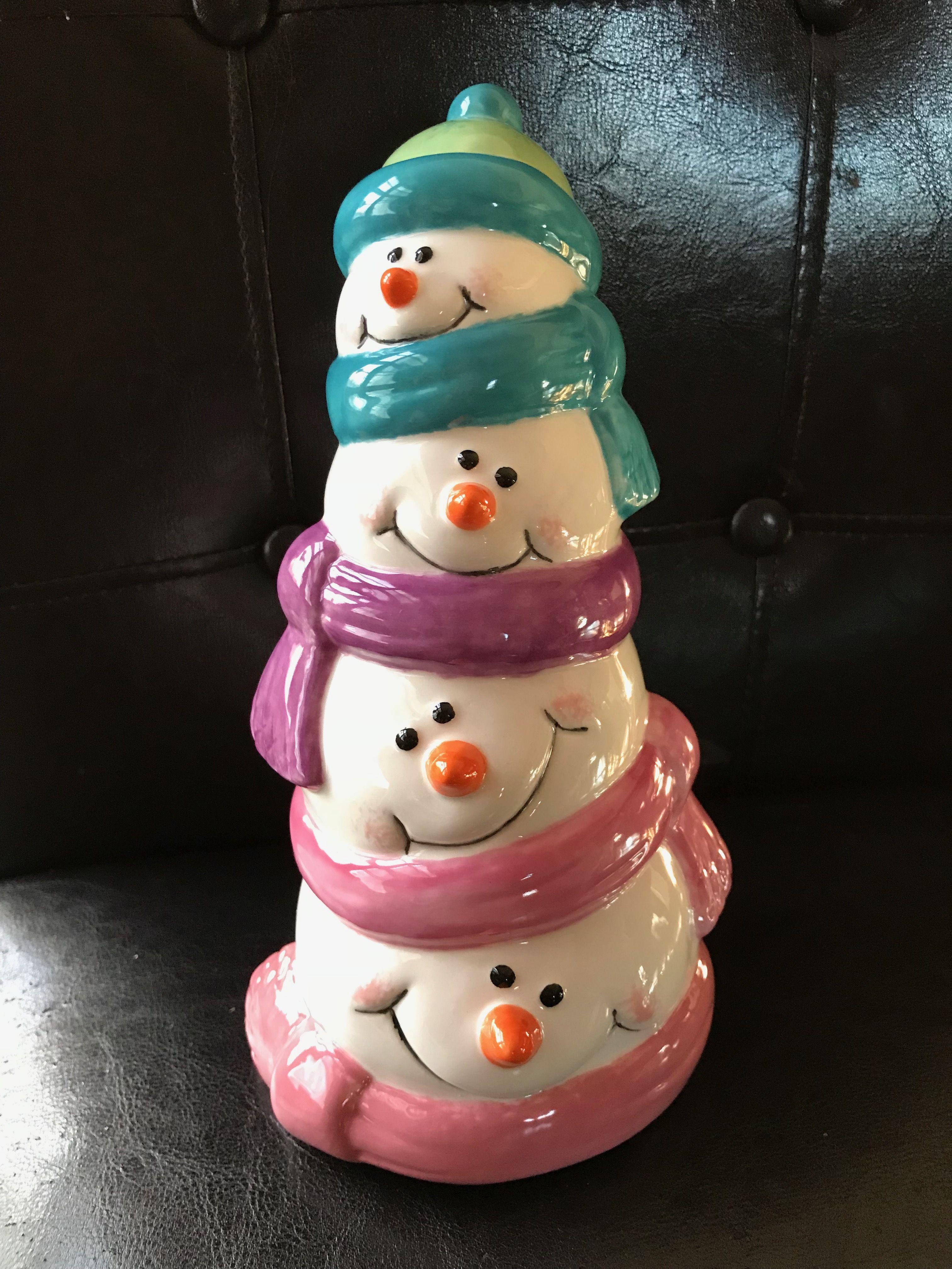 Ceramic Stacked Snowman Ceramic Painting Ceramic Pottery Ceramics