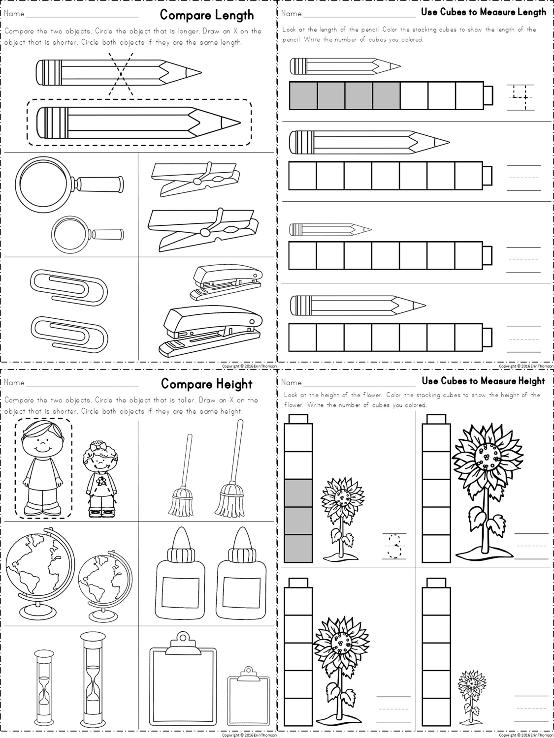 Worksheets For Measuring Length And Height Part Of A Kindergarten