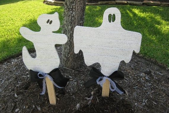 ghost yard art Halloween Ghost Yard Art Yard Decor by - pinterest halloween yard decor