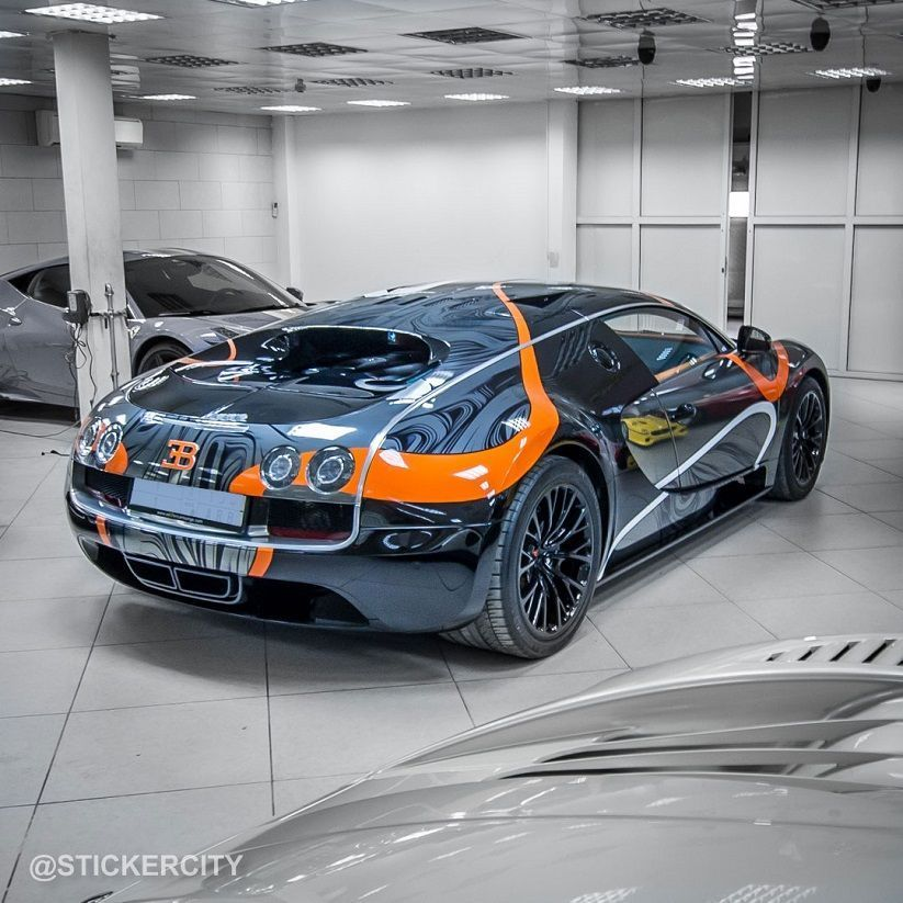bugatti veyron super sport by sticker city featuring orange eb logo