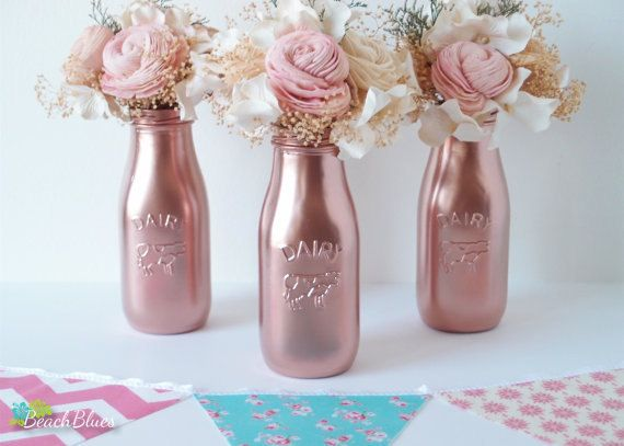 Copper painted milk bottles baby shower decor by for Baby bottles decoration