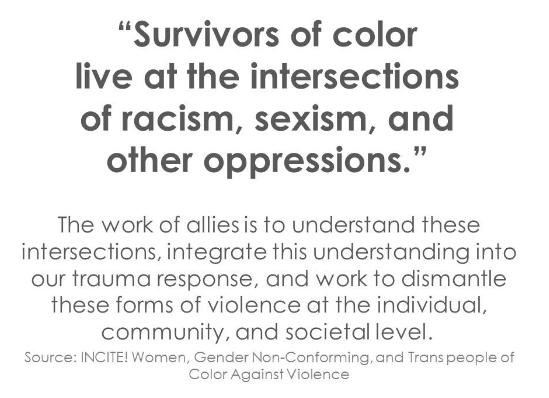 This webinar for #DVAM2015, hosted by the National Resource Center on Domestic Violence and presented by Kate McCord of the Virginia Sexual and Domestic Violence Action Alliance, was intended for white aspiring allies interested in deepening their understanding of the connections between racial justice work and our work to end domestic and sexual violence.