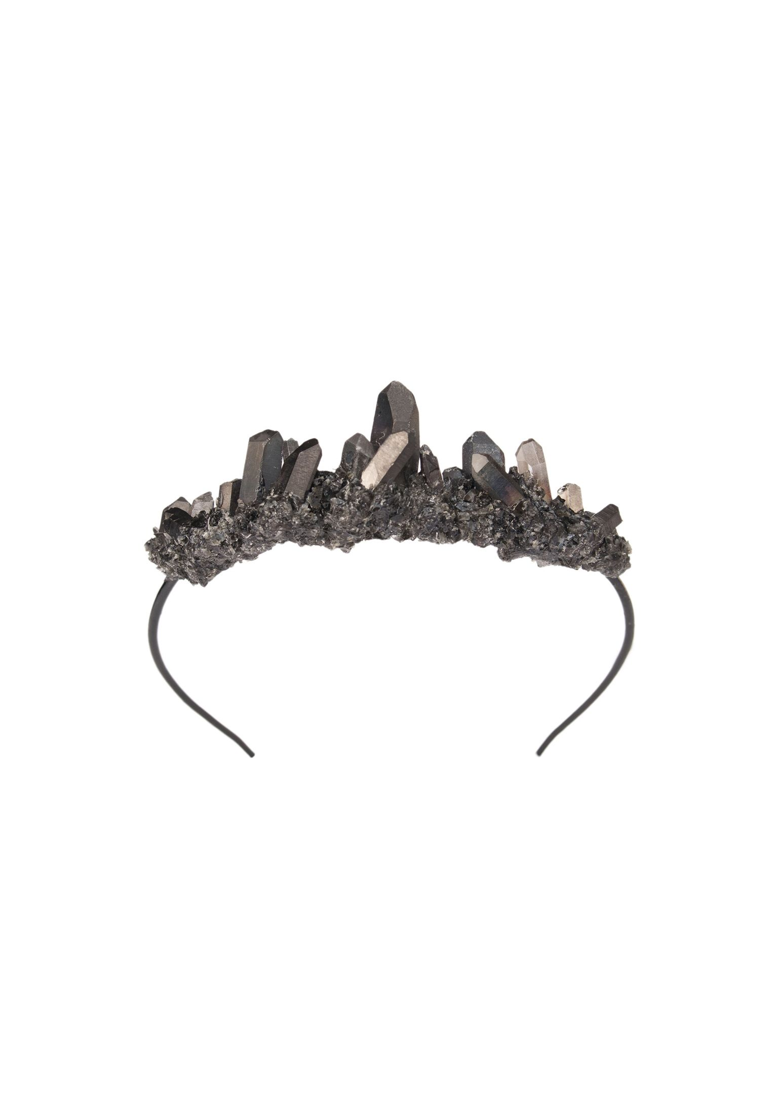 Dark Blue Titanium Quartz raw Crystal Crescent Moon hair pin side comb wiccan Bridal Crown Tiara Wedding veil witch goth jewelry