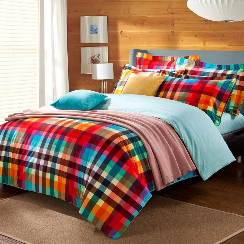Girls Bedding Set Preppy Style Colorful Green Red Checked Plaid Bedding Set Quilt Cover Flat Sheet Pill Bedroom Comforter Sets Plaid Bedding Sets Plaid Bedding