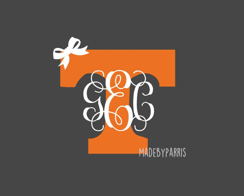 Tennessee vols monogram vinyl decal tennessee decal vols decal car decal