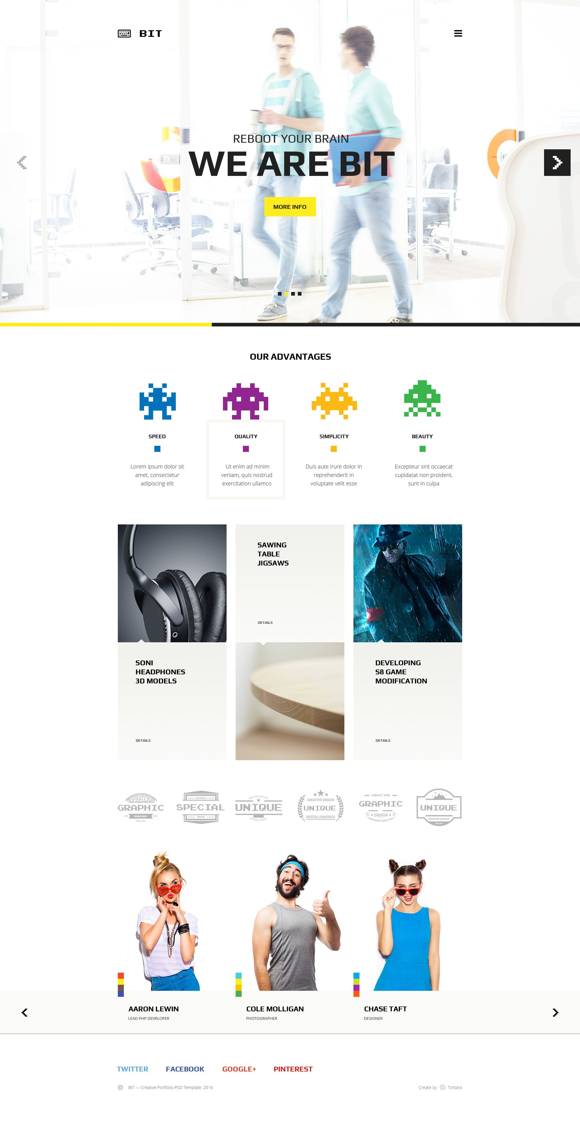 Bit Original Digital Pixel Art Portfolio PSD Template Pinterest - Digital portfolio template
