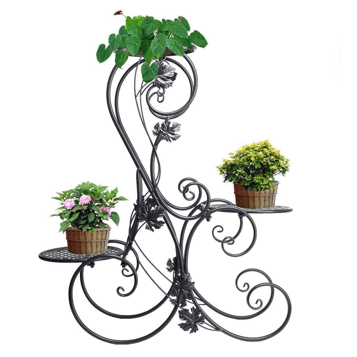 7d2382acf2cd 3 Tiered Scroll Decorative Black Metal Garden Patio Stands Plant Flower Pot  Rack Display Shelf Holds 3 Flower Pot