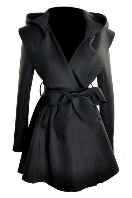 5af489f361 ROMWE | ROMWE Pleated Hooded Belted Long Sleeves Black Coat, The Latest  Street Fashion