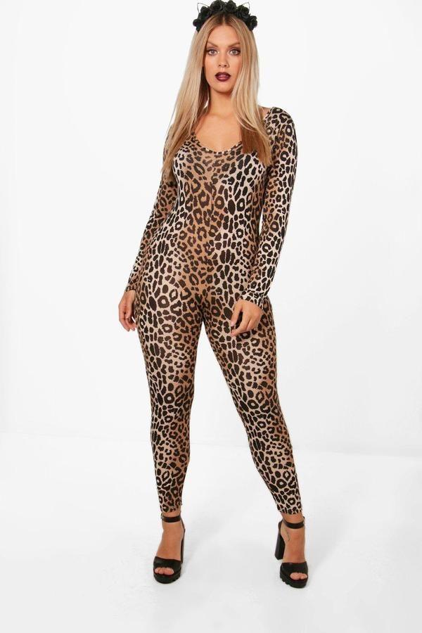 d855778adfab boohoo Plus Leah Halloween Leopard Print Catsuit | curvy Halloween ...