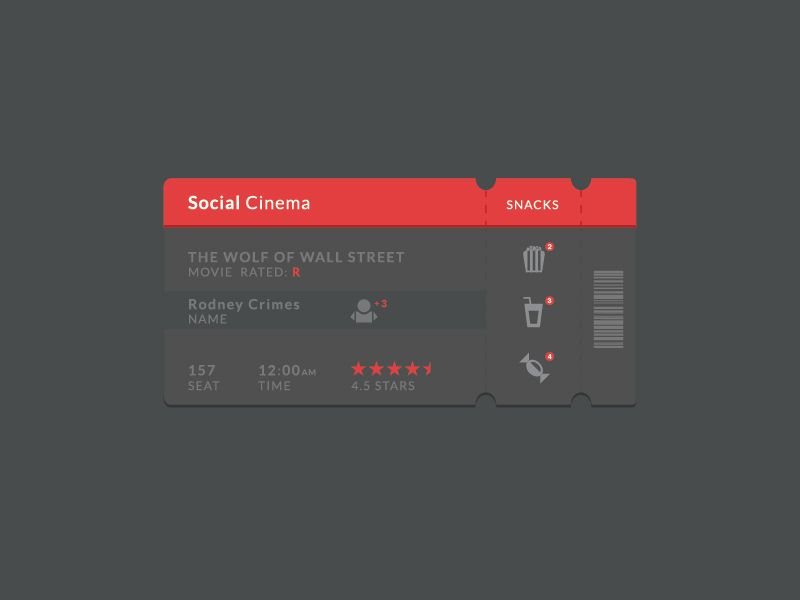 Social Cinema Ticket Ui