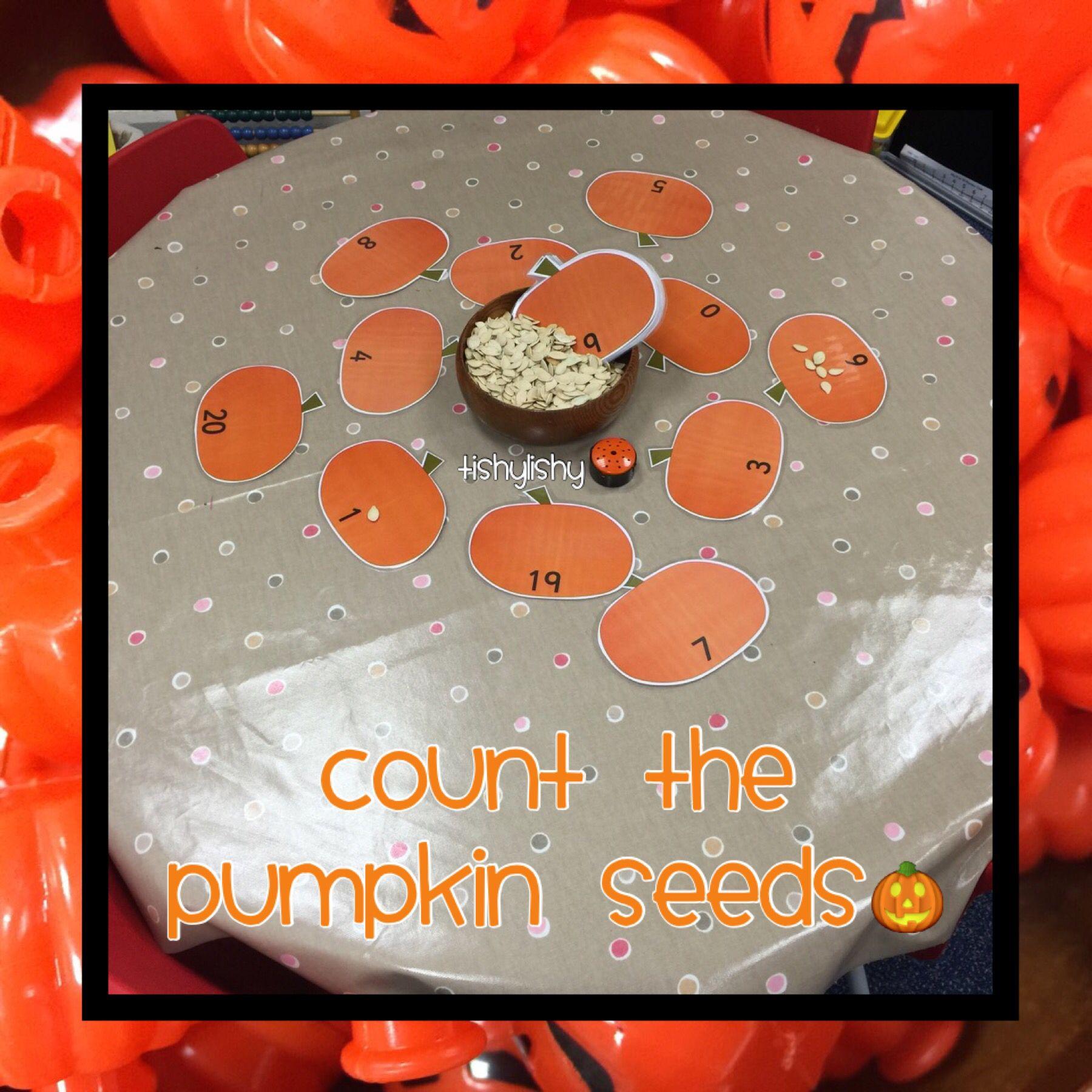 Count the pumpkin seeds  Pumpkins preschool, Nursery activities
