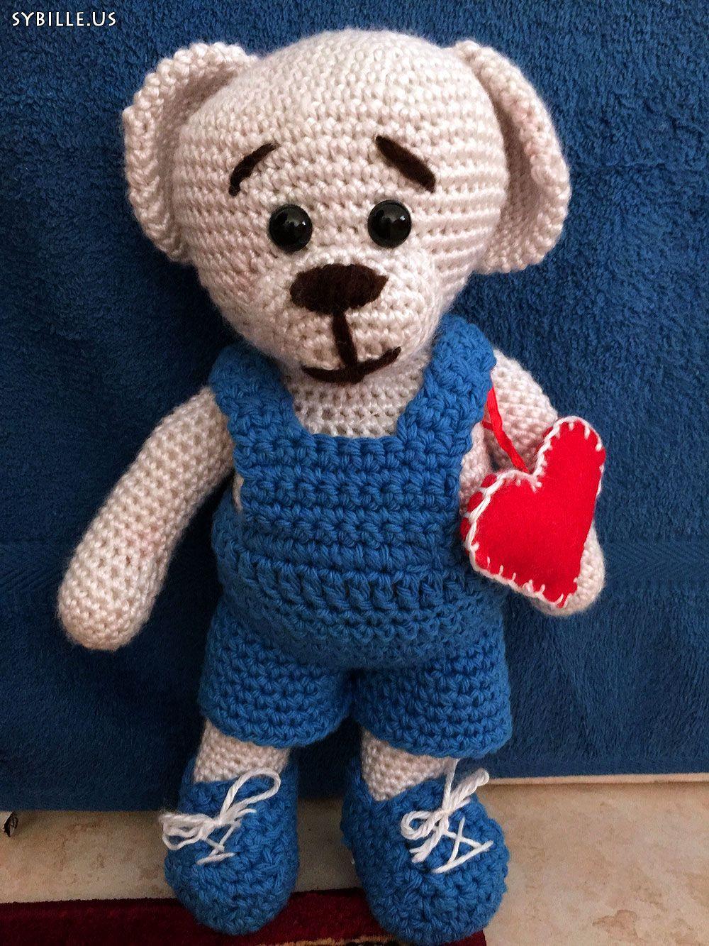 teddy mit herz 30 cm teddy häkeln crochet herz amigurumi