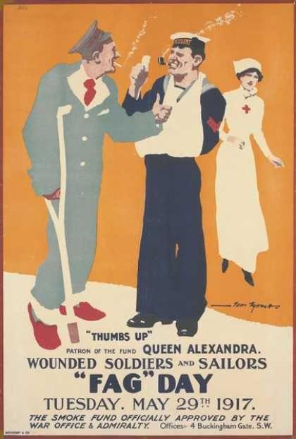 Reino Unido, (WWI, 1ª GM) (1917) Source: http://www.vintageadbrowser.com/tobacco-ads-1910s/2#ad1myj63mp110zb6