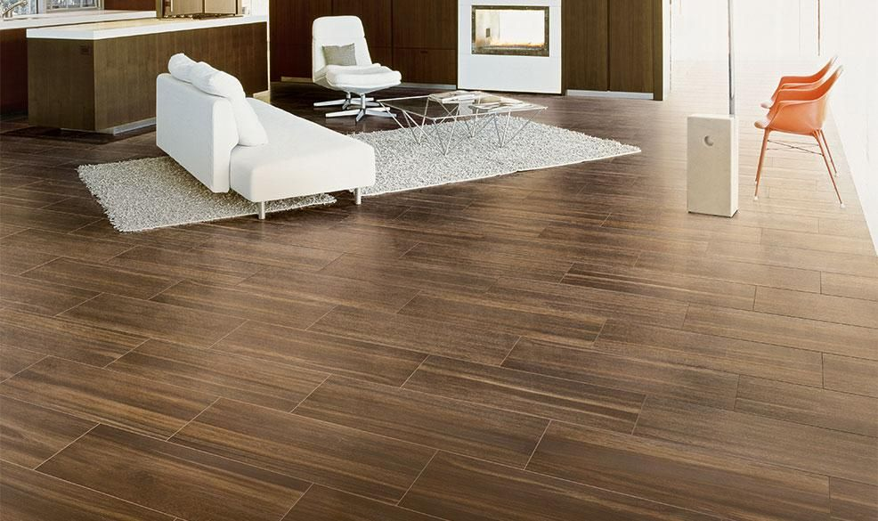 Dark Wood Look Tile For Contemporary Living Room Design Harmony