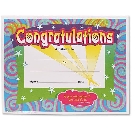 Congratulations Certificates, 8-1\/2 X 11, White Border, 30\/pack - congratulations award template