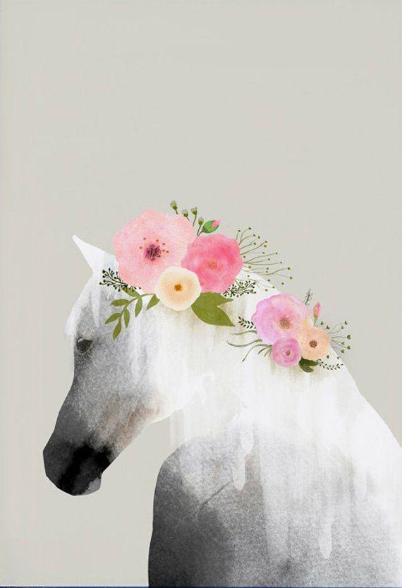 Photo of Hestekunst, veggkunst, blomsterplakat, dyrekunst, heste akvarell, veggveggdekor, leilighetskunst, hesteplakat, barnehage, gave