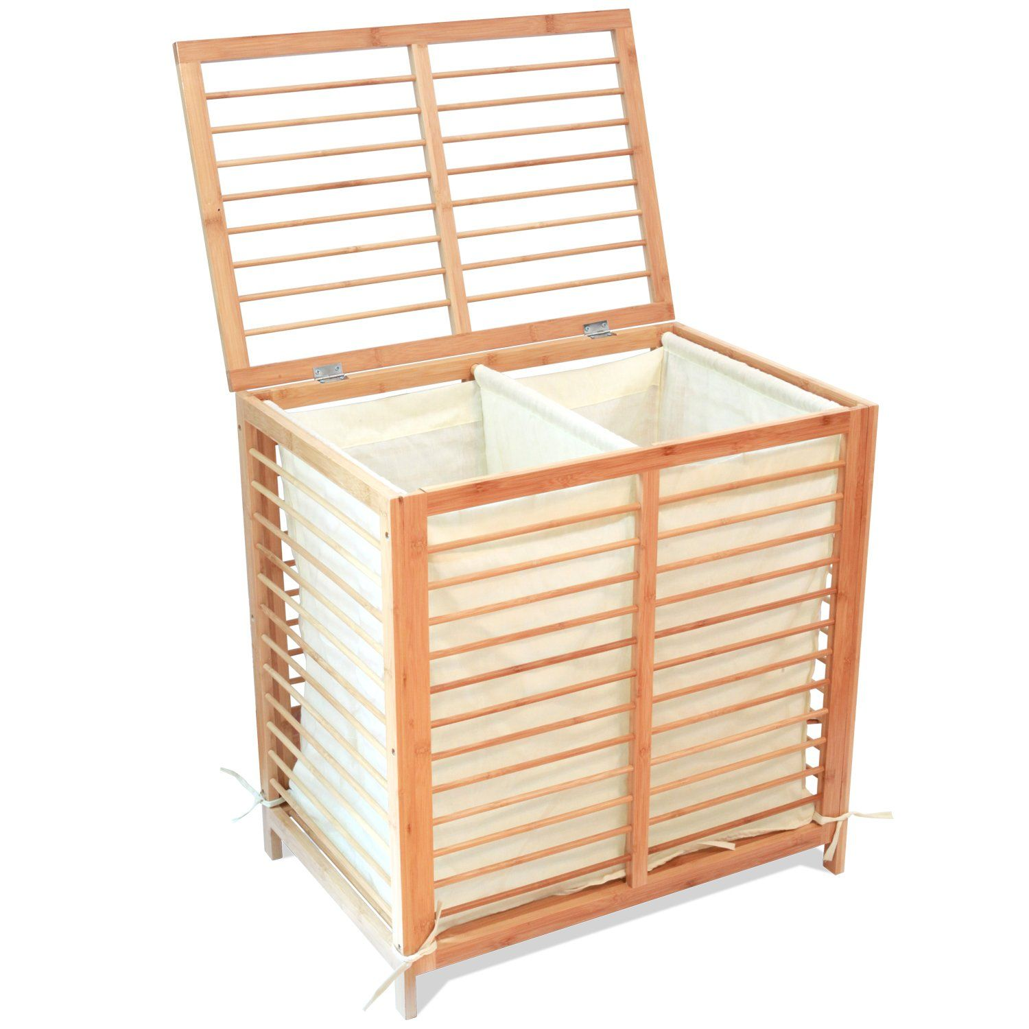 Deluxe Bamboo Hamper With 2 Separate Compartments For Easy
