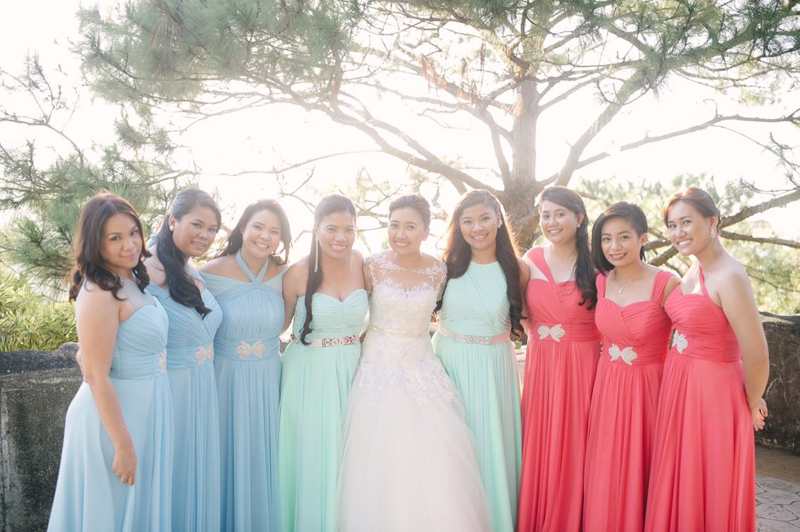 Wedding Entourage in Mint, Coral and Sky Blue | Weddings ...