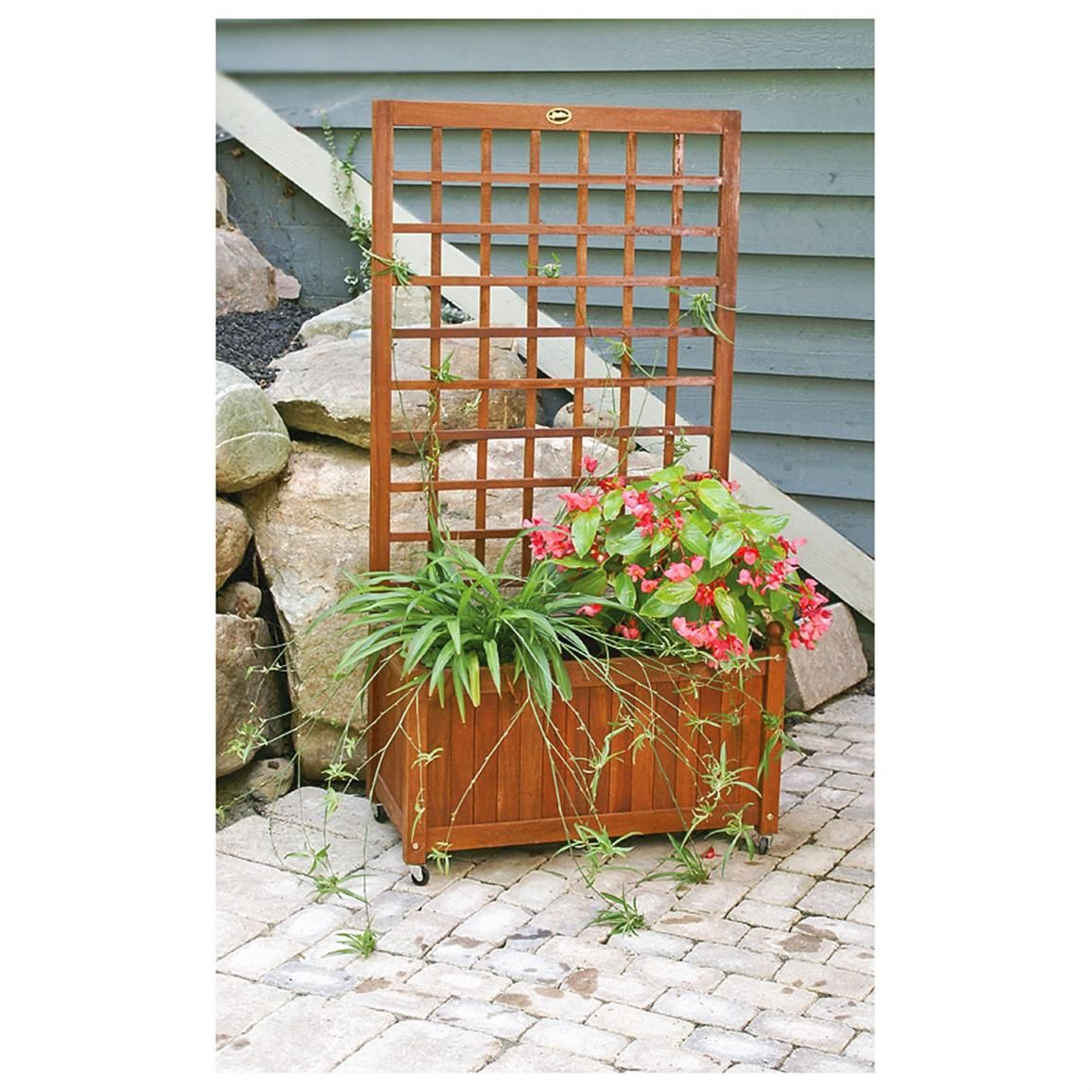 Wooden Flower Box / Garden Trellis Gardens, Climbing