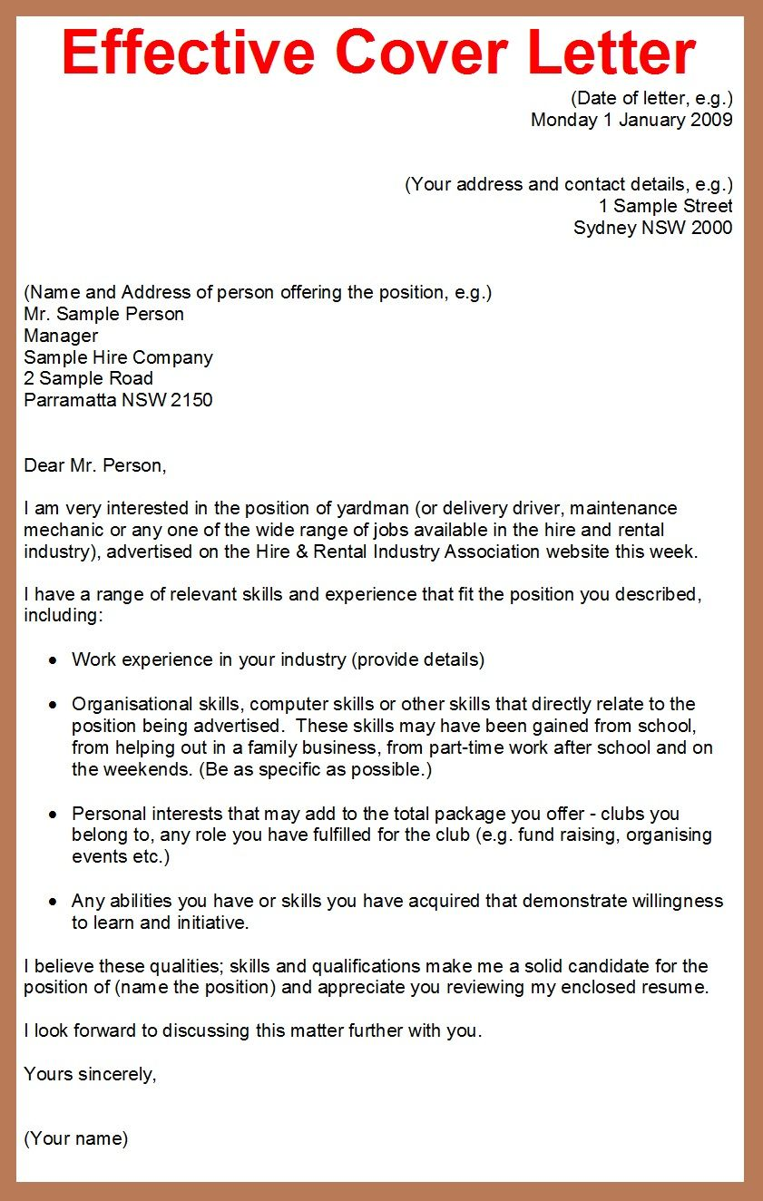 free sample cover letter for job applications
