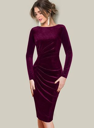 Solid Ruffles Pencil Knee-Length Bodycon Dress 2