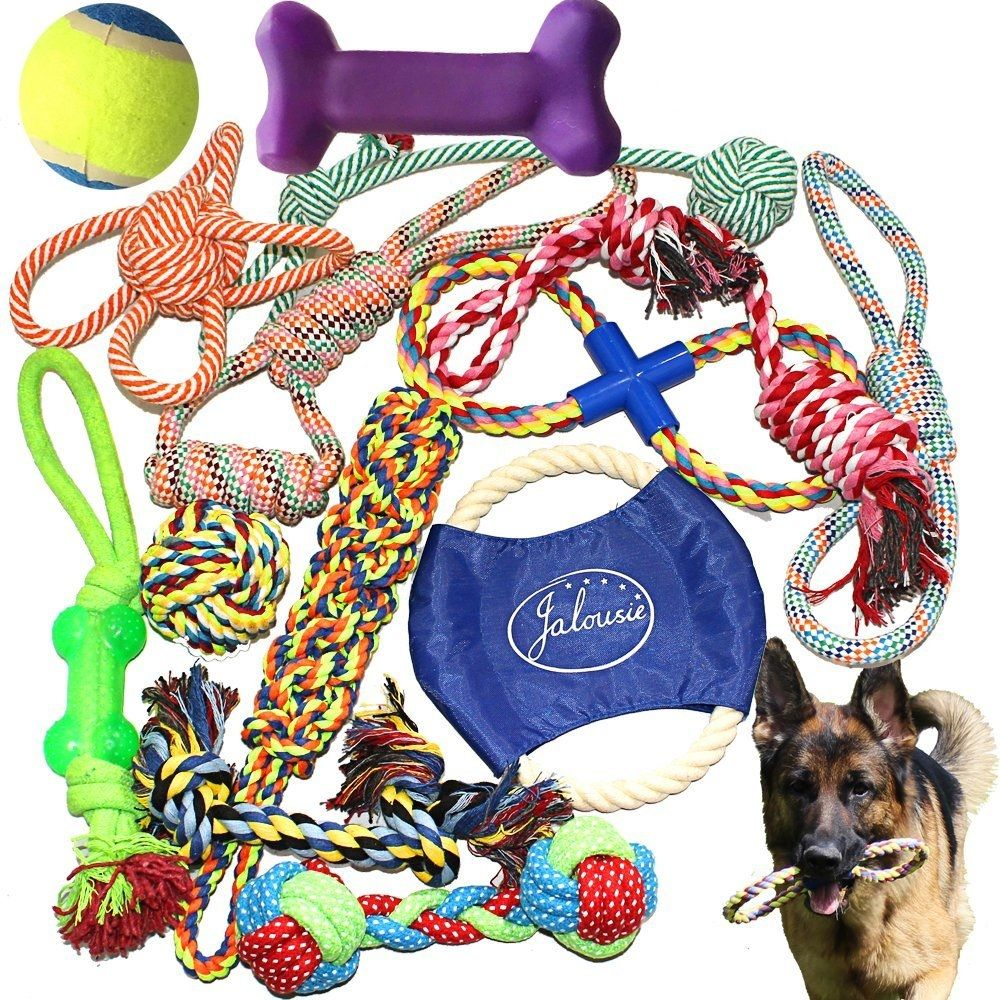 Jalousie 14 Pack Puppy Chew Dog Rope Toy Assortment for
