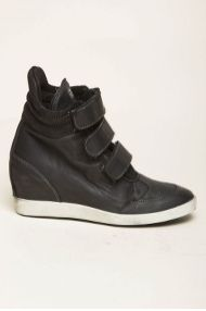 6e12070f124f Leather Crown sneakers med kilehæl