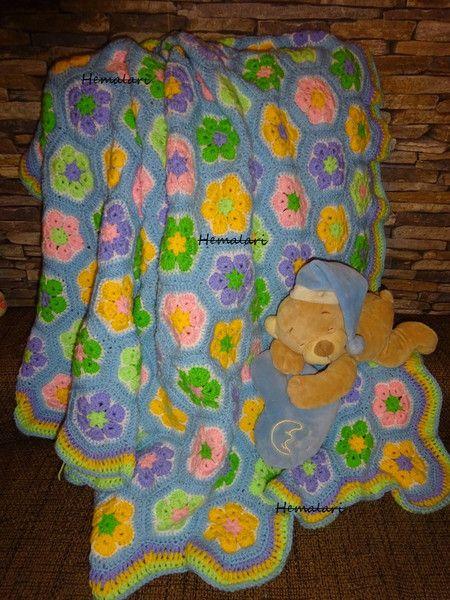 Babydecken - blaue Babydecke * african flower Muster * gehäkelt ...