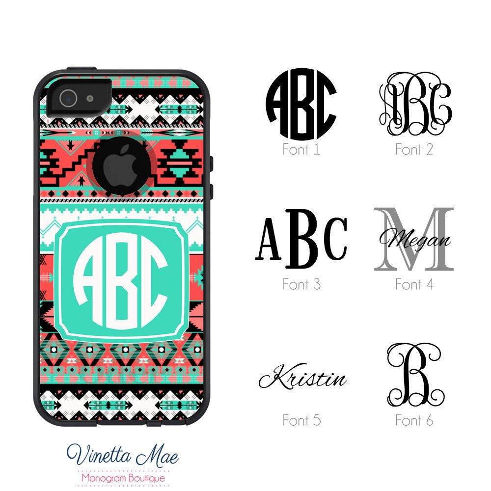 Otterbox Commuter Apple iPhone 5 5s Personalized Cell Phone Case Girls Women  Tribal Aztec Custom Initial aaba28338