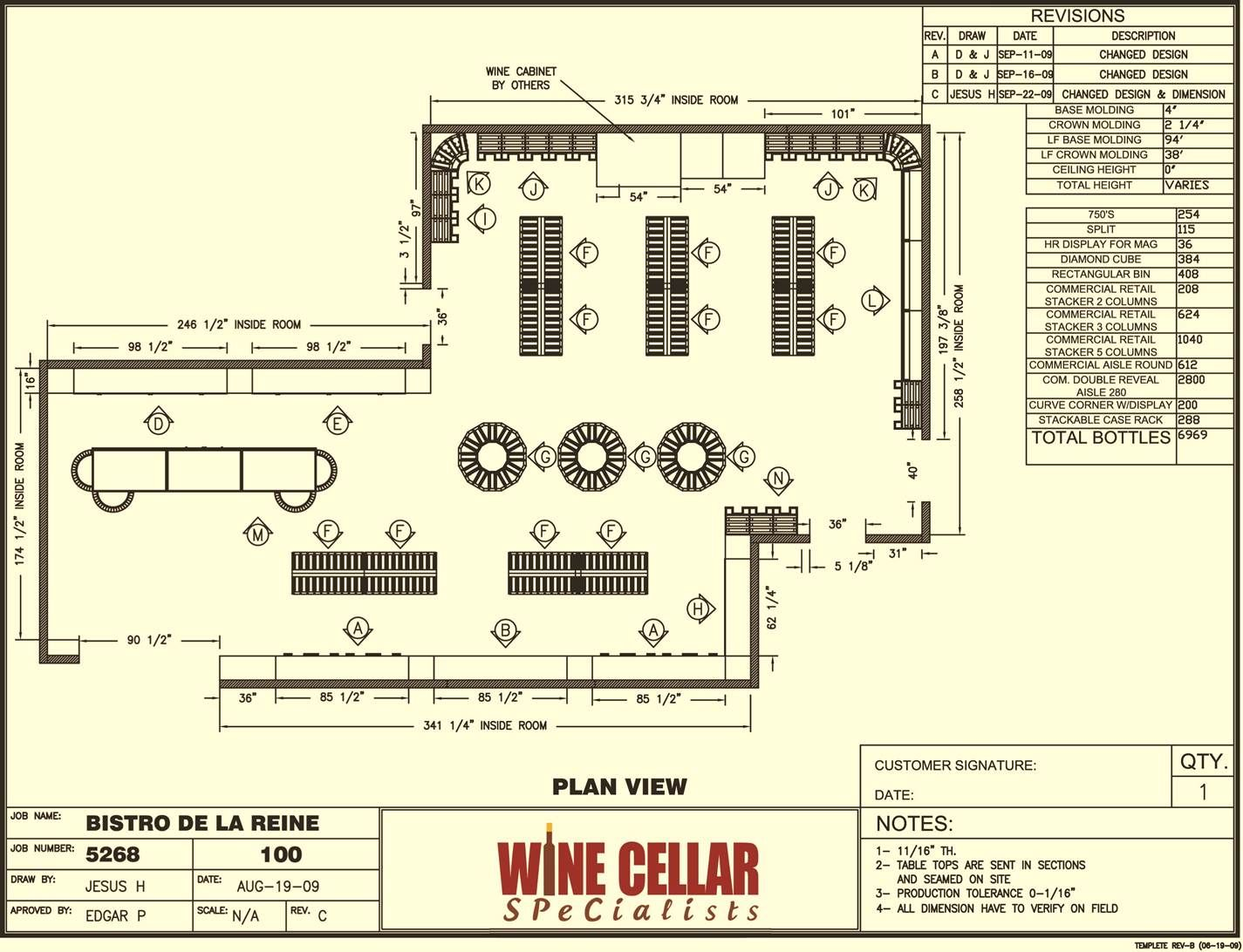 Plan view wine store design layout bistro de la reine for Wine cellar layout